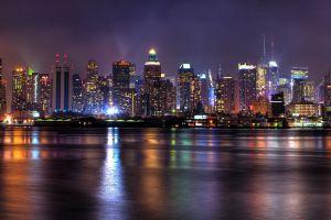 city multiple display night dual monitors reflection new york city lights