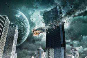 city sky meteors building planet