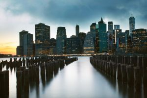 city skyscraper pier cityscape new york city sunset