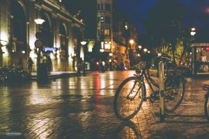 city soft bicycle street light street