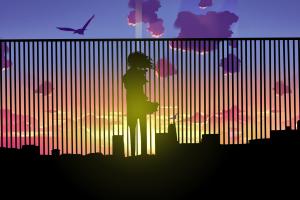 city sunset multiple display anime horizon triple screen
