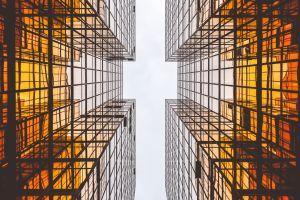city symmetry skyscraper sky modern architecture building square window reflection urban worm's eye view glass