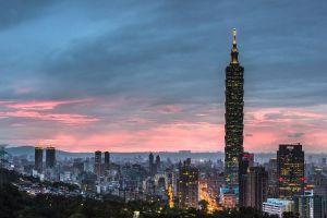 city taipei 101 skyscraper city lights dusk cityscape