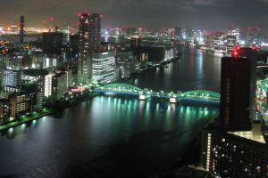 city tokyo city lights cityscape bridge