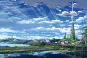 cityscape artwork clouds sky anime