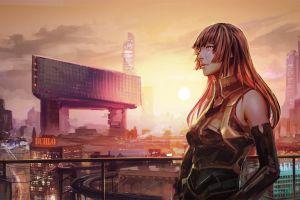 cityscape artwork women futuristic long hair