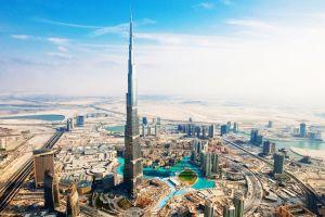 cityscape city skyscraper burj khalifa desert aerial view