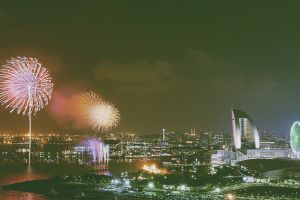 cityscape fireworks ferris wheel new year yokohama