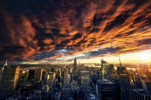 cityscape landscape sunset nature architecture building clouds skyscraper sky urban new york city