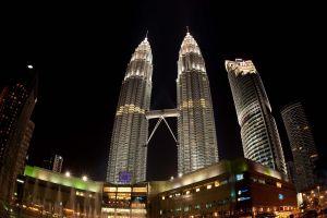 cityscape malaysia petronas towers skyscraper night
