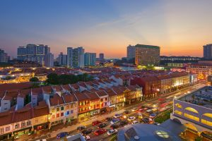 cityscape rooftops singapore city traffic