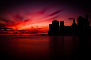 cityscape sky dark sunset