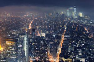 cityscape skyscraper new york city city mist lights