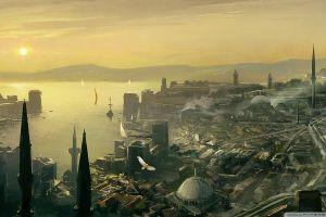 cityscape sun city istanbul artwork