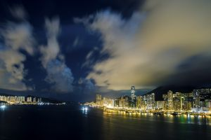 cityscape urban building hong kong clouds photography lights road city night