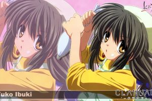 clannad yellow eyes dark hair ibuki fuko anime girls