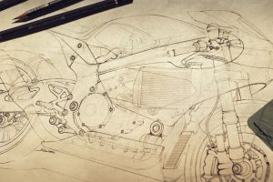 classic art motorcycle drawing
