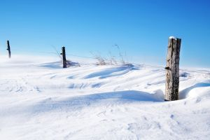 clear sky winter snow fence cyan