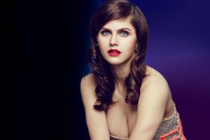 cleavage alexandra daddario women photo manipulation blue eyes brunette