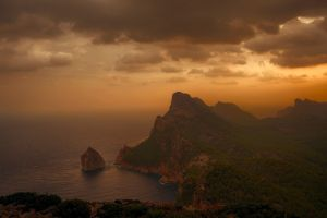 cliff coast shrubs nature landscape sunset clouds sea mist