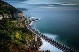 cliff sea australia road landscape bridge