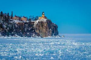 cliff village ice landscape lake nature lighthouse