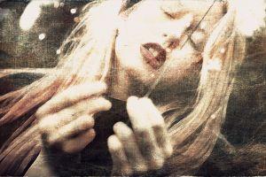 closed eyes blonde face hands portrait women