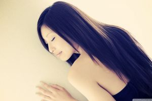 closed eyes brunette long hair asian bare shoulders women painted nails