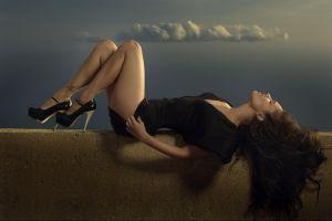 closed eyes long hair actress black dress megan fox thighs women lying down open mouth high heels wall celebrity brunette tattoo legs
