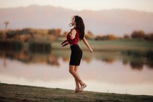closed eyes women model david olkarny smiling aurela skandaj tattoo river sandals skirt