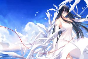 clouds anime girls blue eyes black hair kill la kill long hair dress kiryuin satsuki anime