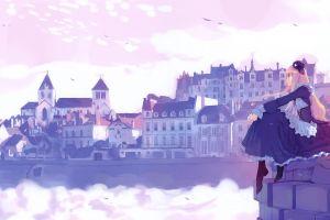 clouds anime girls sky sea