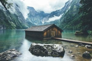 clouds forest boathouses nature landscape mountains berchtesgaden national park germany lake