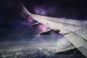 clouds galaxy airplane sky