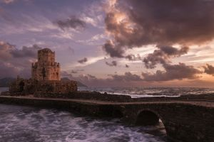 clouds greece ruins landscape castle sea windy waves