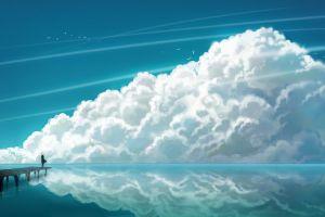 clouds horizon artwork anime cyan lines