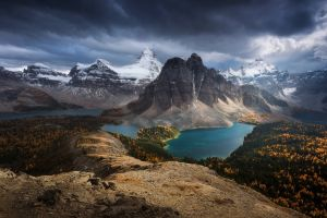 clouds lake water forest snowy peak turquoise mountains nature fall canada landscape
