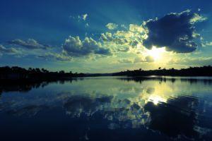 clouds lake water