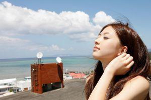 clouds model sea bare shoulders closed eyes hands in hair long hair windy asian women brunette women outdoors rina aizawa house face