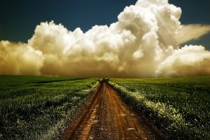 clouds nature dirt road field landscape plains
