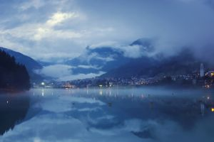 clouds nature lake mist landscape calm evening valley lights blue mountains reflection water city