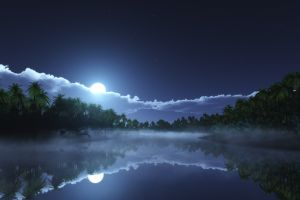 clouds nature landscape lake reflection tropical mist starry night palm trees moonlight