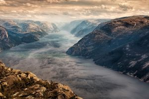clouds norway nature sunset mountains fjord landscape mist