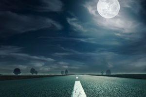 clouds road sky asphalt highway empty  trees landscape night moon moonlight nature