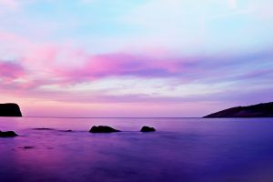 clouds sea horizon nature sky purple landscape