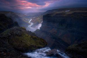 clouds sky calm summer sunset landscape mist river nature hills iceland canyon valley