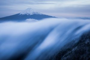 clouds snowy peak island mountains bird's eye view japan nature long exposure trees mist forest landscape