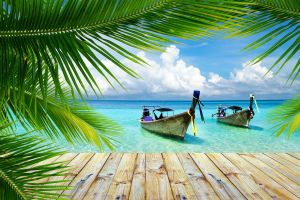 clouds summer landscape beach nature walkway palm trees boat sea tropical thailand