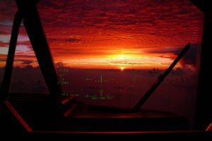 clouds sunset hud cockpit aircraft vehicle sun