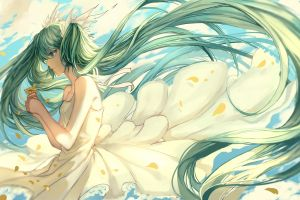 clouds white dress flowers hatsune miku long hair flower petals anime girls wind twintails vocaloid anime